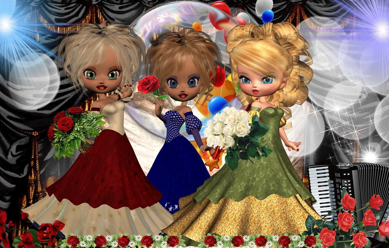 Фото обои сцена, концерт, трио, Куклы, artists, артисты, the trio scene, Dolls concert
