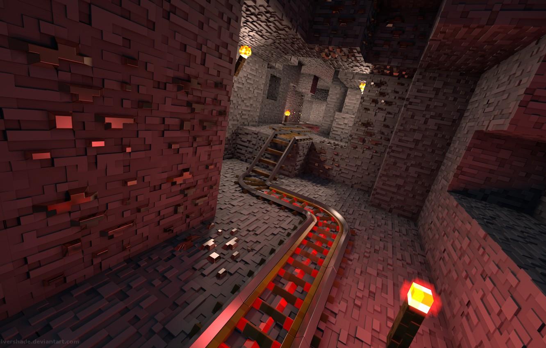 Фото обои рельсы, Игры, туннель, art, minecraft, rails