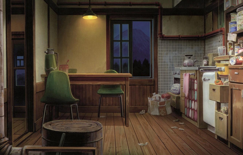 Фото обои стол, стулья, вечер, окно, кухня, art, Kusanagi, продукты, камната