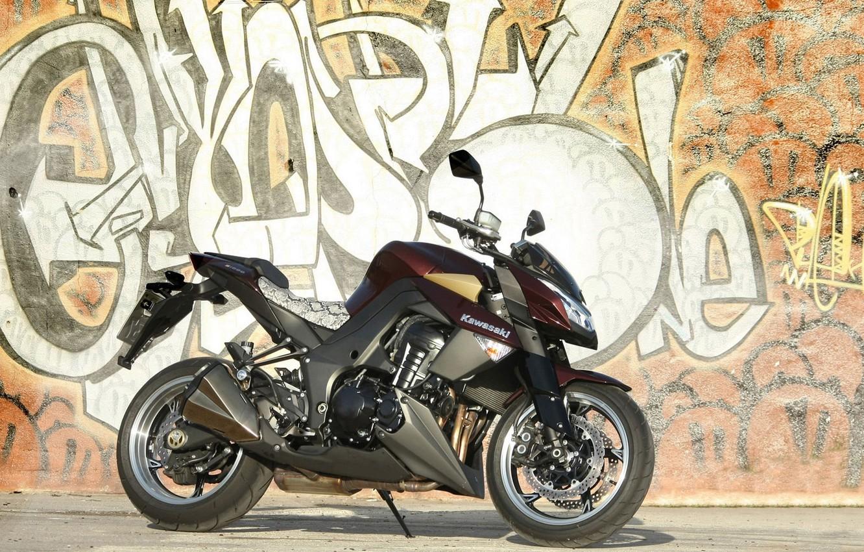 Фото обои мотоцикл, графити, kawasaki