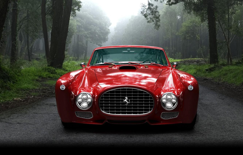 Фото обои car, лес, красный, ретро, Ferrari, forest, road, trees, ферари, mist, veh