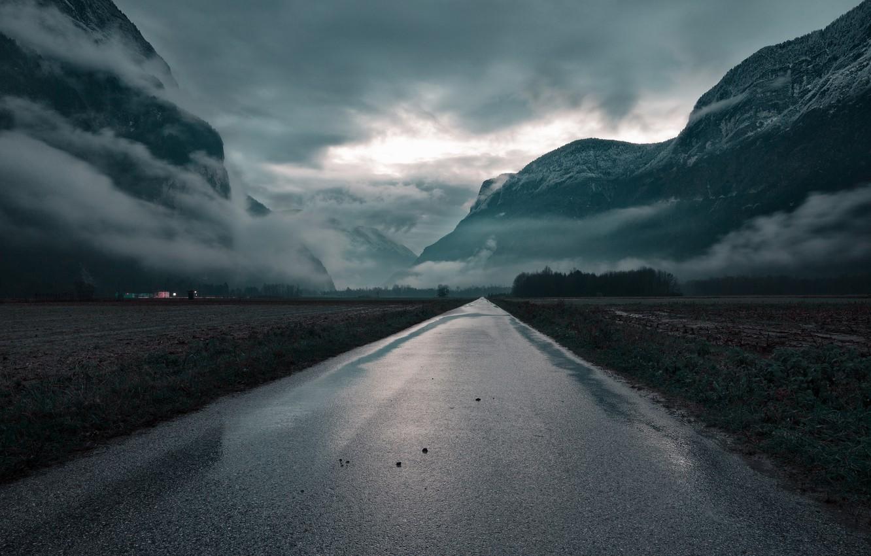 Фото обои Облака, Дорога, Горы, Трава, Деревья