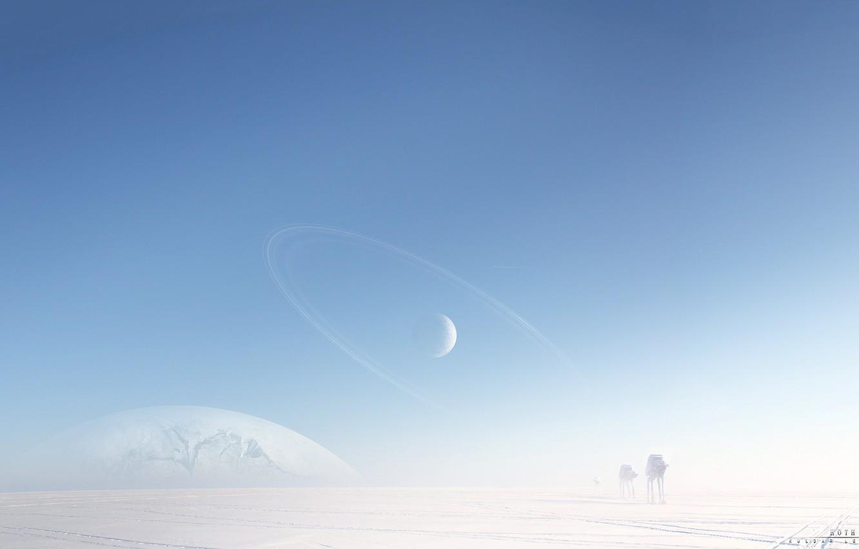 Фото обои холод, снег, машины, роботы, арт, льдины, star wars