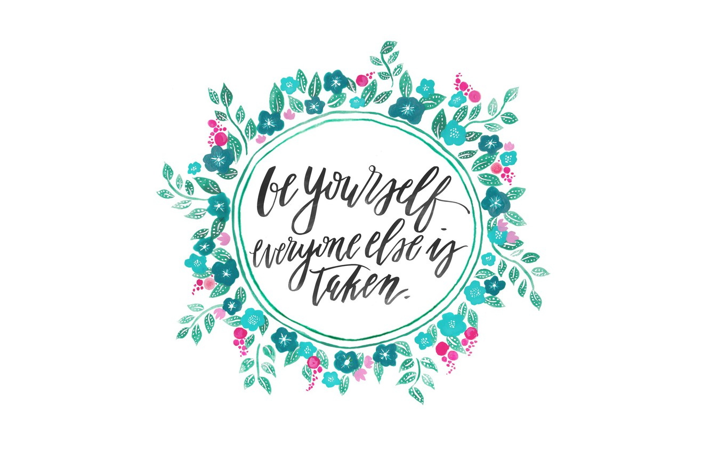 Фото обои цветы, рисунок, круг, акварель, фраза, цитата, вдохновение, мотивация, будь собой, motivation, be yourself