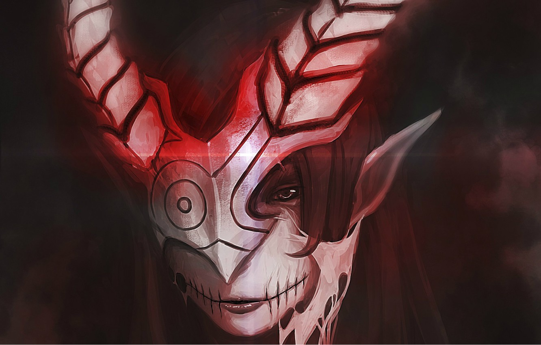 Фото обои тьма, маска, рога, Демон