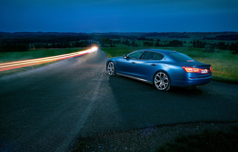 Фото обои авто, ночь, Maserati, Quattroporte, выдержка, Novitec