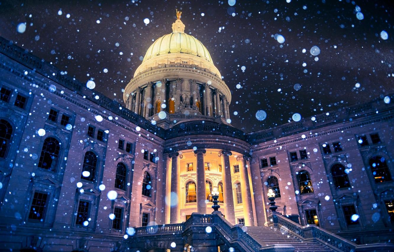 Фото обои зима, свет, снежинки, ночь, город, здание, Висконсин, фонари, USA, США, Капитолий, боке, Wisconsin, Madison, United …