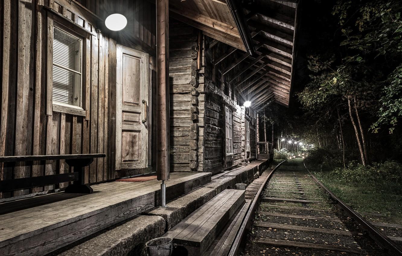 Обои ночь, станция, Железная дорога. Города foto 13
