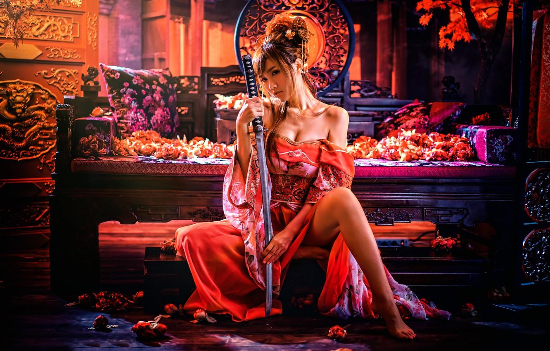 Фото обои девушка, меч, Sylvia, chinese style