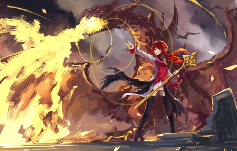 Фото обои девушка, огонь, магия, дракон, аниме, арт, посох, swd3e2, dungeon and fighter