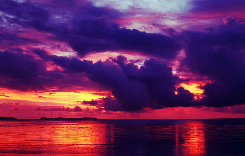 Фото обои море, небо, облака, закат, тучи, отражение, горизонт, зарево