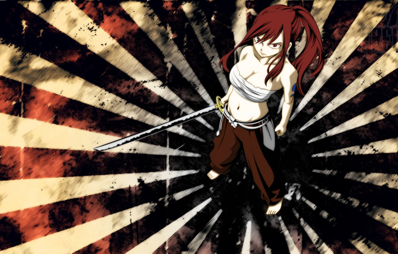 Фото обои меч, Anime, холодное оружие, wild, хвост феи, Fairy Tail, Erza Scarlet, Manga, Эльза, Erza, Titania, …