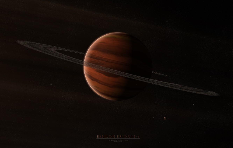 Фото обои звезды, планета, кольца, спутники, газовый гигант, epsilon eridani b