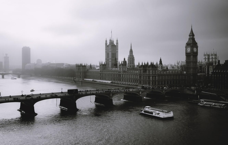 Фото обои туман, лондон, london