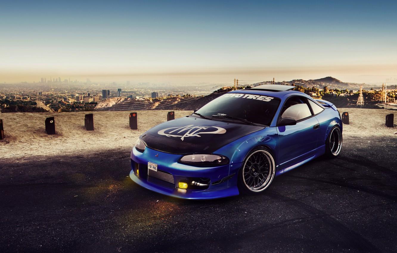 Фото обои Mitsubishi, Car, Blue, Eclipse, Tuning, Virtual