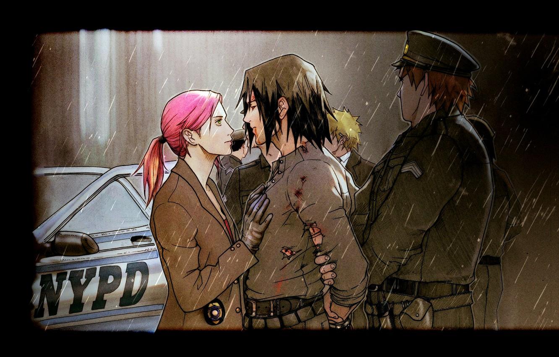 Фото обои Полиция, Дождь, Sakura Haruno, Naruto Uzumaki, Саске Учиха, Фан-Арт, Наруто Узумаки, Сакура Харуно, Saske Uchiha