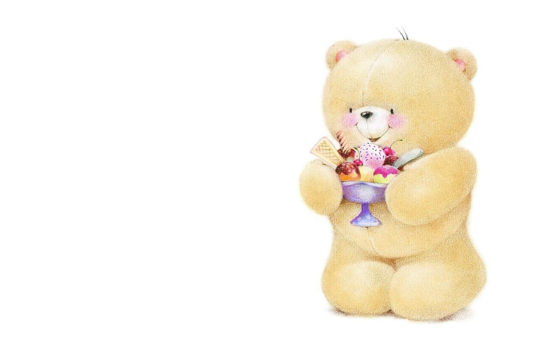 Фото обои улыбка, настроение, арт, мишка, мороженое, вкусняшка, детская, Forever Friends Deckchair bear