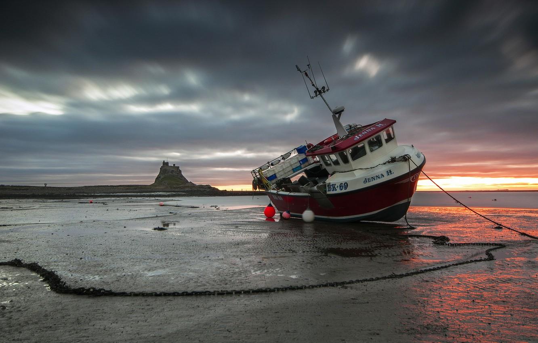 Фото обои закат, корабль, мель