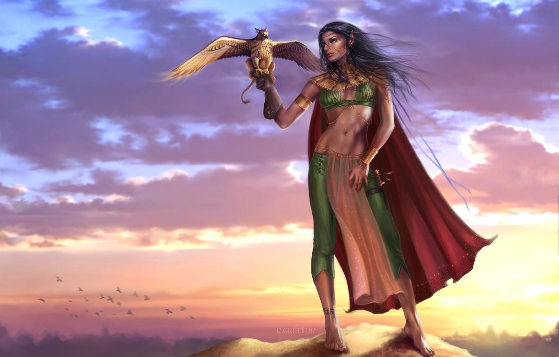 Фото обои небо, девушка, облака, закат, птицы, скала, оружие, эльф, меч, фэнтези, арт, вершина, girl, sword, rock, …
