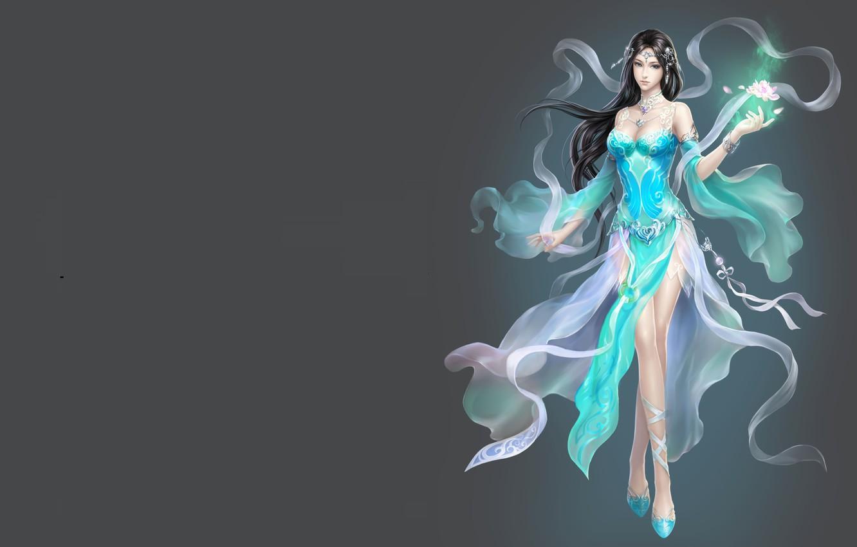 Фото обои девушка, фентези, магия, игра, арт, лотос, Китай