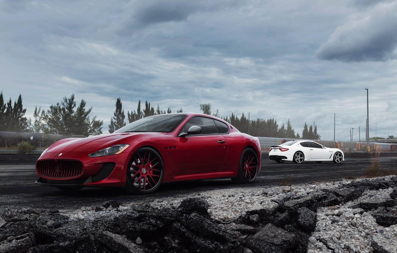 Фото обои Maserati, red, white, GranTurismo, мазерати, front, rear, гран туризмо