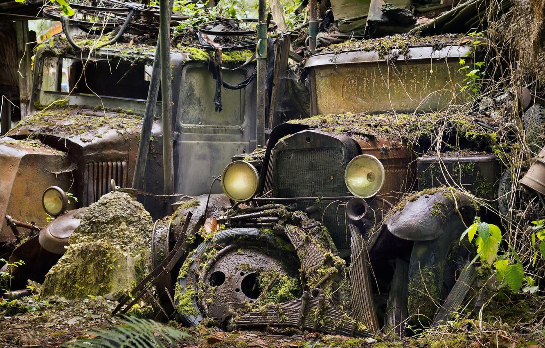 Фото обои машины, фон, лом