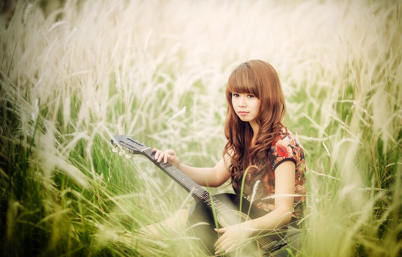 Фото обои девушка, гитара, азиатка