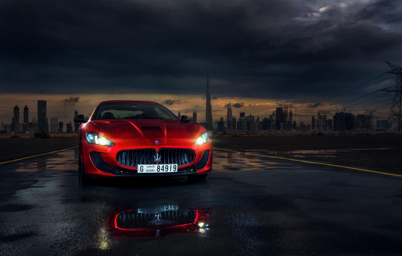 Фото обои Maserati, Red, Car, Dubai, Front, Sport, Granturismo, Italian, Ligth, Mc Stradale, Darkside