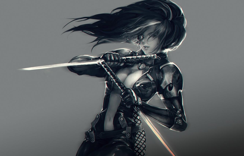 Фото обои девушка, оружие, мечи, Kelvie