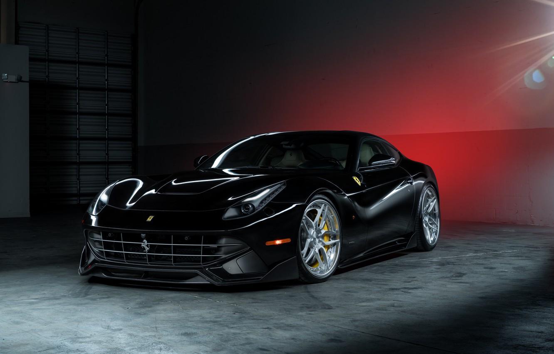 Фото обои Ferrari, Power, Front, Black, Supercar, Berlinetta, F12, Wheels, ADV.1, Ligth