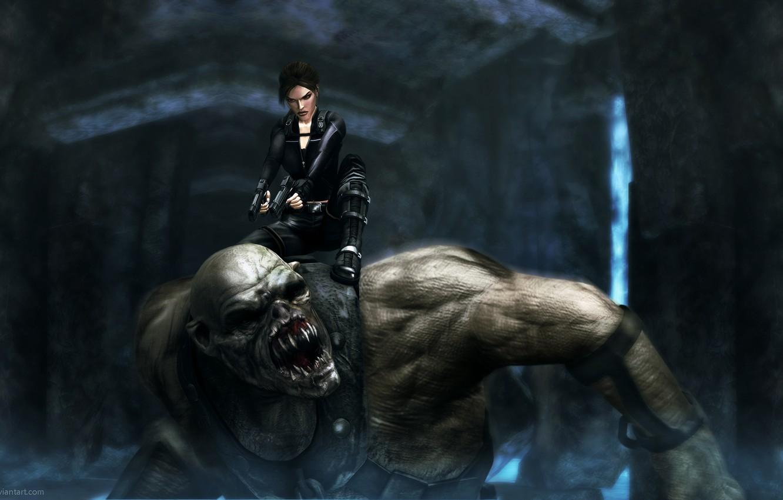 Фото обои пистолеты, монстр, Tomb Raider, underworld, Lara Croft