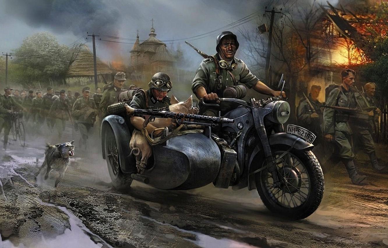Фото обои огонь, война, собака, БМВ, мотоцикл, церковь, свинья, пулемёт, Немцы, вторжение