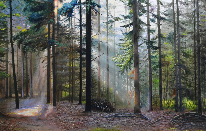 """Фото обои масло, картина, холст, художник С.Луценко, """"Забытые тропы"""""""