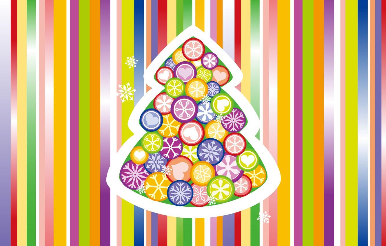 Фото обои снежинки, полосы, фон, праздник, игрушки, Новый Год, цветной, елочка, New Year, Holiday