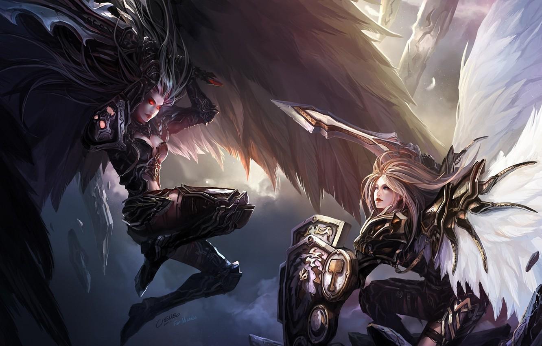 Фото обои камни, оружие, девушки, крылья, меч, перья, арт, битва, щит, красные глаза, chenbo
