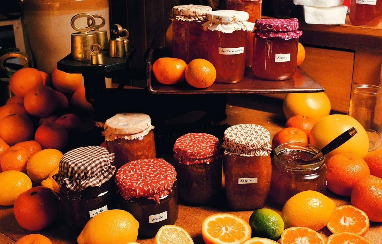 Фото обои апельсины, банки, лимоны, Варенье