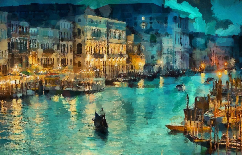 Обои рисунок, Вода, лодки, ночь, свет. Разное foto 11