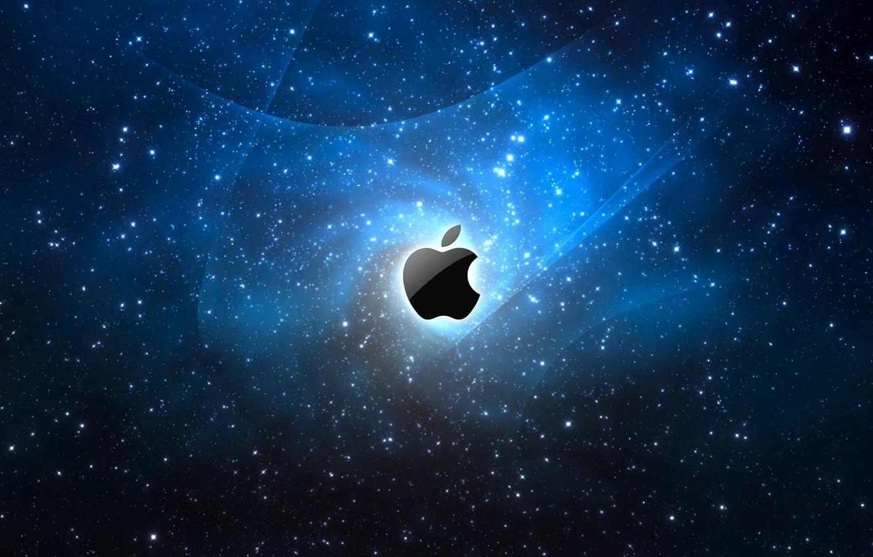 Фото обои космос, Apple, яблоко