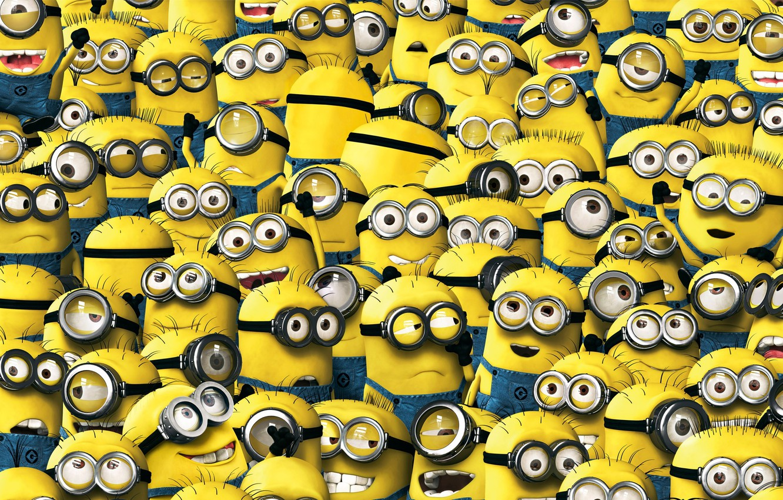 Фото обои animation, yellow, smile, cartoon, suit, Cyclops, Minions, Despicable Me, uniform, staff, Minion, teeth, Universal Pictures, …