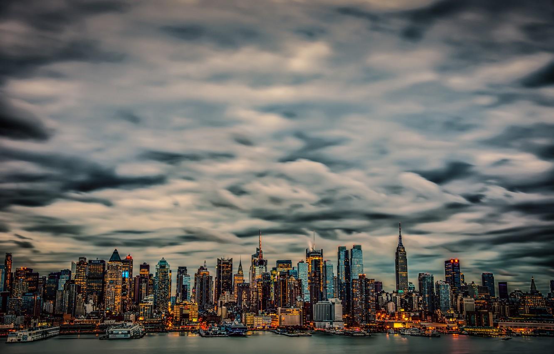 Обои тучи, небоскребы, manhattan, здания, skyline, new york city, освещение. Города foto 6