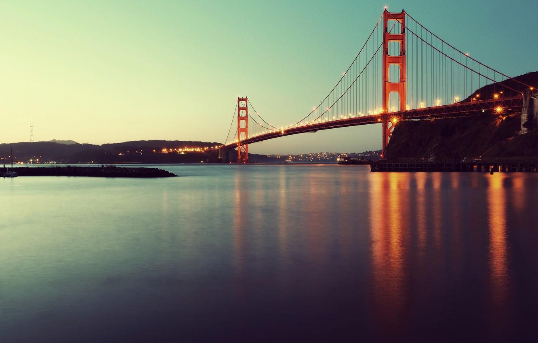 Фото обои мост, огни, вечер, золотые ворота, США, Сан Франциско, San Francisco, Golden Gate