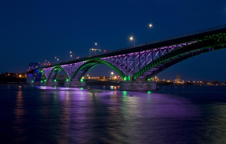 Фото обои ночь, мост, город, огни, залив, Peace bridge