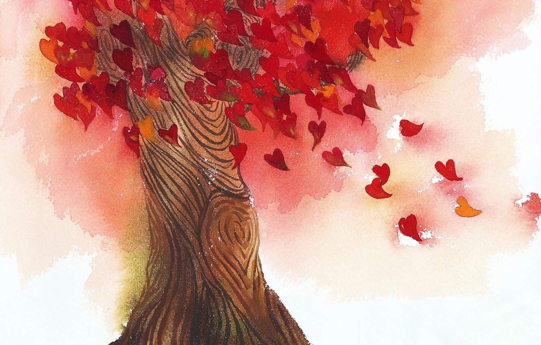 Фото обои листья, любовь, дерево, сердце