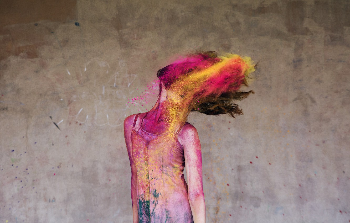 Фото обои colourful, happy, colour, action, happiness, ballet, movement, moving, ballerina, powder paint
