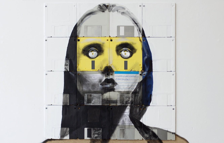 Фото обои глаза, взгляд, девушка, стиль, краска, портрет, арт, дискеты, флоппи-арт, Nick Gentry, Ник Гентри, floppy-art