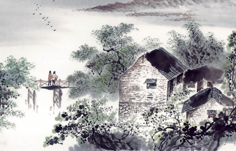 Фото обои пейзаж, арт, домик, двое, мостик