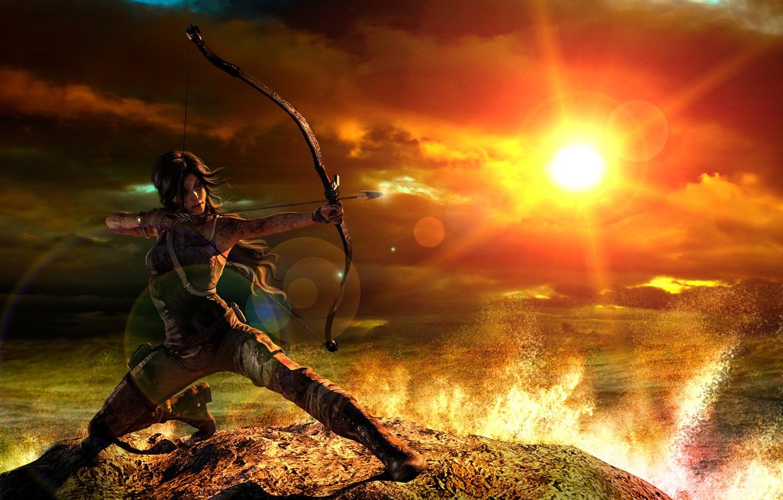 Фото обои девушка, закат, лук, tomb raider, Lara Croft