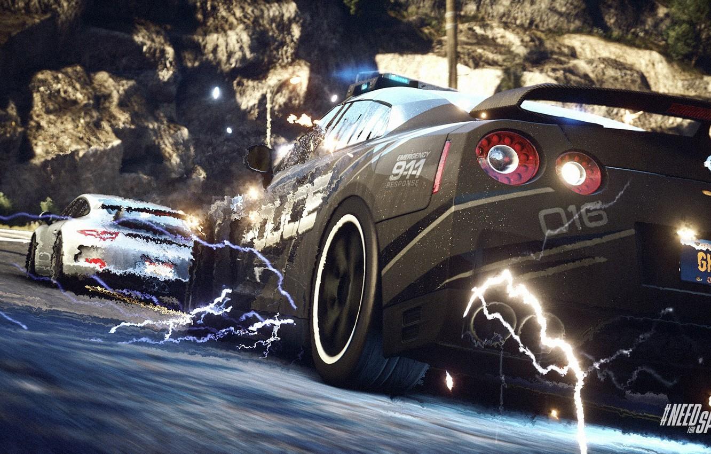 Фото обои Porsche, Police, Interceptor, Pursuit, Nissan GTR, NFS Rivals Wallpaper, EMP