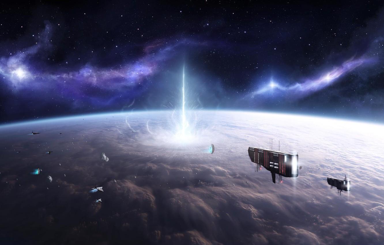 Фото обои космос, звезды, взрыв, планета, корабли, атмосфера, астероиды, Stefan Veselinov, The Experiment