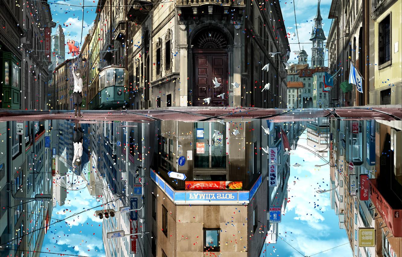 Фото обои небо, облака, птицы, город, отражение, праздник, дома, зонт, аниме, арт, флаги, парень, kuronokuro